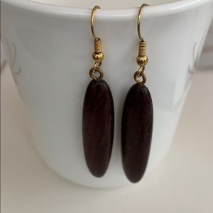 Solid Wood Dangling Earrings (Vintage)